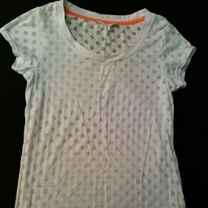 Size L white with sheer.polka dots top